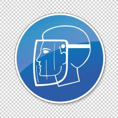 Face Shield Must Be Worn. Wear face shield for Coronavirus or Covid-19, mandatory sign or safety sign, on checked transparent background. Vector illustration. Eps 10 vector file.- Stock Photo or Stock Video of rcfotostock | RC-Photo-Stock