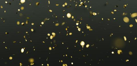 Falling shiny golden confetti on black background. Bright festive tinsel of gold color.- Stock Photo or Stock Video of rcfotostock | RC-Photo-Stock