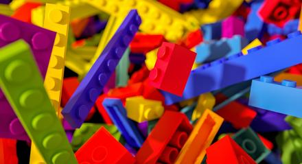 falling toy bricks - concept image - 3D Rendering Illustration- Stock Photo or Stock Video of rcfotostock | RC-Photo-Stock