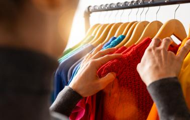 Fashion clothes hanging on clothing rack, in colorful rainbow colors selection of clothes closet. Woman choose outfits on hangers in store closet. LGBT colors- Stock Photo or Stock Video of rcfotostock   RC-Photo-Stock