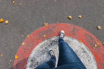 Feet From Above Concept, Teenage Person in  Sneakers Standing on the street in a circle, Blank Copy Space in Front, Point of view shot- Stock Photo or Stock Video of rcfotostock | RC-Photo-Stock