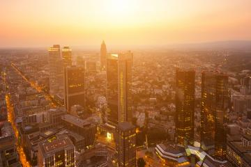 financial business district of Frankfurt at Sunset- Stock Photo or Stock Video of rcfotostock | RC-Photo-Stock