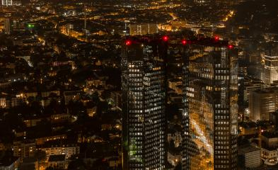 Financial district skyscapers in Frankfurt at night- Stock Photo or Stock Video of rcfotostock | RC-Photo-Stock