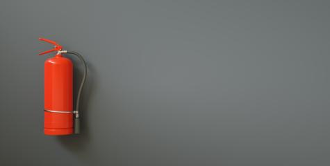 Fire extinguisher on a black wall, with copy space for individual text- Stock Photo or Stock Video of rcfotostock | RC-Photo-Stock