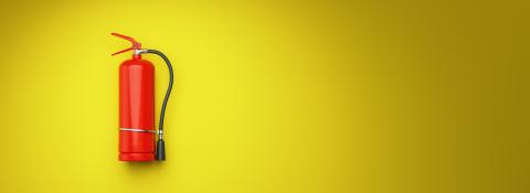 Fire extinguisher on the yellow wall, banner size, copy space for individual text- Stock Photo or Stock Video of rcfotostock | RC-Photo-Stock