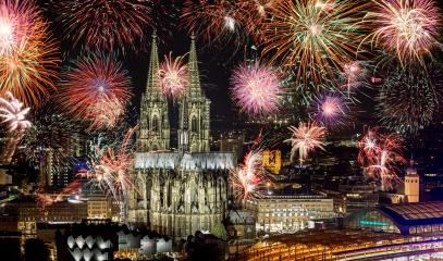Fireworks at Cologne Cathedral (Kölner lichter), Cologne, Germany- Stock Photo or Stock Video of rcfotostock | RC-Photo-Stock