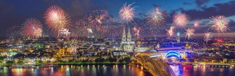 Fireworks at Cologne Skyline with Cathedral and Hohenzollern Bridge, Cologne, Germany- Stock Photo or Stock Video of rcfotostock | RC-Photo-Stock