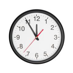 Five minutes to twelve on a wall clock on white background : Stock Photo or Stock Video Download rcfotostock photos, images and assets rcfotostock | RC-Photo-Stock.: