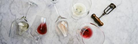 Flat-lay of red, rose and white wine in glasses and corkscrews over white marble background, top view, horizontal composition. wine bar, winery, wine degustation concept- Stock Photo or Stock Video of rcfotostock | RC-Photo-Stock