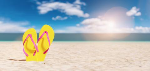 flip-flop on the beach summer vacation, travel Concept image- Stock Photo or Stock Video of rcfotostock | RC-Photo-Stock
