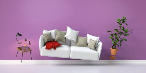 Floating furniture with a lamp and sofa in zero gravity in the living room with a pink wall- Stock Photo or Stock Video of rcfotostock | RC-Photo-Stock