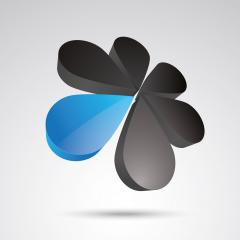 flower 3d vector icon as logo formation in black and blue glossy colors, Corporate design. Vector illustration. Eps 10 vector file.- Stock Photo or Stock Video of rcfotostock | RC-Photo-Stock