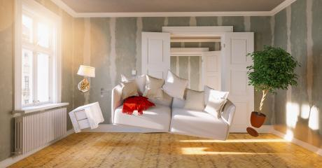 Flying sofa and furniture in weightlessness in a old apartment of a house for relocation- Stock Photo or Stock Video of rcfotostock | RC-Photo-Stock