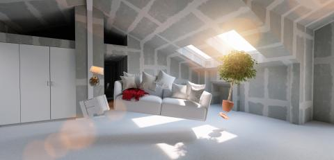 Flying sofa and furniture in weightlessness in the attic of a house for relocation- Stock Photo or Stock Video of rcfotostock | RC-Photo-Stock