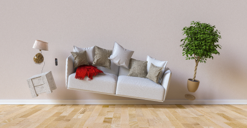 Flying sofa and furniture in weightlessness in the living room- Stock Photo or Stock Video of rcfotostock | RC-Photo-Stock