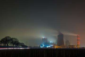 foggy coal power station at night- Stock Photo or Stock Video of rcfotostock | RC-Photo-Stock