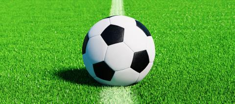 Football ready for kick off on pitch on the center line on artificial turf, EM 2020- Stock Photo or Stock Video of rcfotostock | RC-Photo-Stock