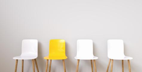 Four chairs in office corridor, with copy space for individual text- Stock Photo or Stock Video of rcfotostock | RC-Photo-Stock