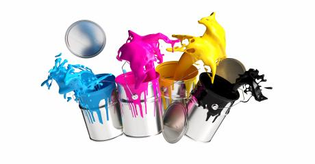Four paint cans splashing CMYK colors isolated on white background, printing concept image- Stock Photo or Stock Video of rcfotostock | RC-Photo-Stock
