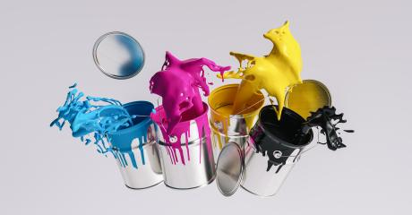 Four paint cans splashing CMYK colors, printing concept image- Stock Photo or Stock Video of rcfotostock | RC-Photo-Stock