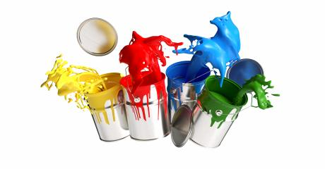 Four paint cans splashing different bright colors isolated on white background, renovation concept image- Stock Photo or Stock Video of rcfotostock | RC-Photo-Stock