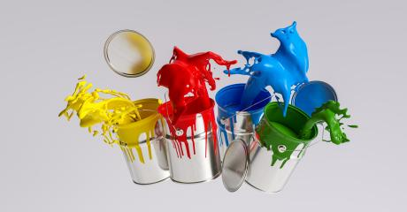 Four paint cans splashing different bright colors, renovation concept image- Stock Photo or Stock Video of rcfotostock | RC-Photo-Stock