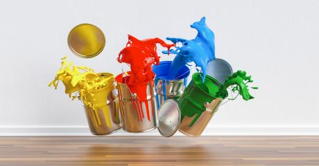 Four paint cans splashing different colors in a apartment, renovation concept image- Stock Photo or Stock Video of rcfotostock | RC-Photo-Stock