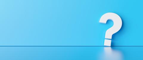 Fragezeichen vor blauem Wand mit Textfreiraum - Stock Photo or Stock Video of rcfotostock | RC-Photo-Stock