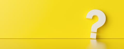 Fragezeichen vor gelber Wand mit Textfreiraum - Stock Photo or Stock Video of rcfotostock | RC-Photo-Stock