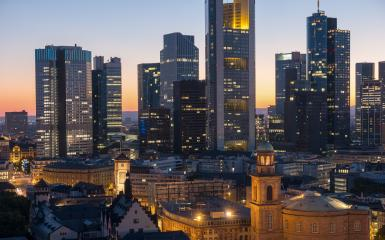 Frankfurt am Main Financial District at night with skyscapers- Stock Photo or Stock Video of rcfotostock | RC-Photo-Stock