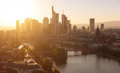 Frankfurt am Main financial district at sunset- Stock Photo or Stock Video of rcfotostock | RC-Photo-Stock