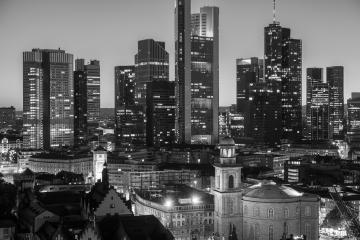 Frankfurt am Main Financial District black and white colored- Stock Photo or Stock Video of rcfotostock | RC-Photo-Stock