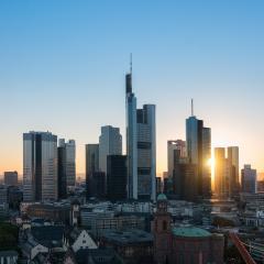 Frankfurt am Main Financial District skyline at sunset- Stock Photo or Stock Video of rcfotostock | RC-Photo-Stock