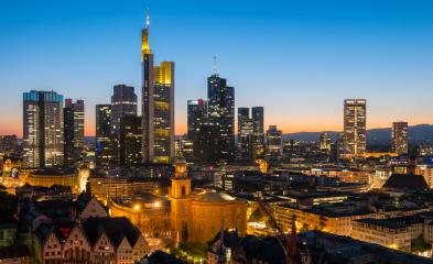 Frankfurt am Main Financial District skyline at sunset- Stock Photo or Stock Video of rcfotostock | RC-Photo-Stock