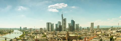 Frankfurt am Main financial district skyline retro Panorama- Stock Photo or Stock Video of rcfotostock | RC-Photo-Stock