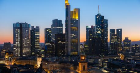 Frankfurt am Main Germany Financial District skyline at night- Stock Photo or Stock Video of rcfotostock | RC-Photo-Stock