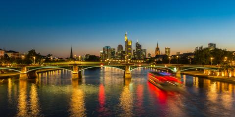Frankfurt am Main Night Skyline at the blue hour- Stock Photo or Stock Video of rcfotostock | RC-Photo-Stock