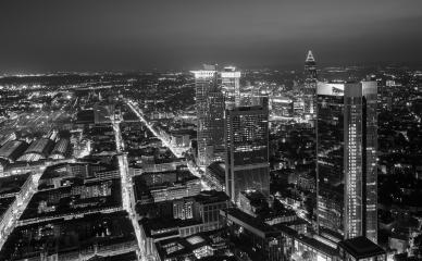 Frankfurt am Main skyline at night in black and white- Stock Photo or Stock Video of rcfotostock | RC-Photo-Stock