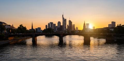 Frankfurt am Main Skyline at sunset silhouette- Stock Photo or Stock Video of rcfotostock | RC-Photo-Stock