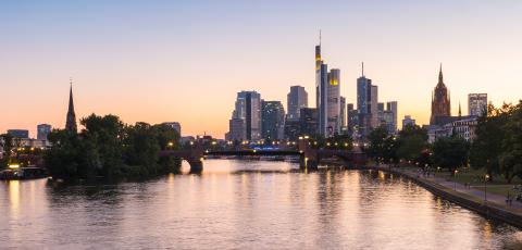 Frankfurt am Main skyline during sunset blue hour, germany- Stock Photo or Stock Video of rcfotostock | RC-Photo-Stock