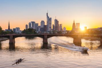 Frankfurt am Main, Skyline, ignatz-bubis-brücke at sunset- Stock Photo or Stock Video of rcfotostock | RC-Photo-Stock
