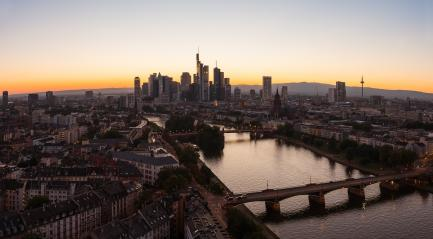 Frankfurt am Main Skyline panorama silhouette at Sunset- Stock Photo or Stock Video of rcfotostock | RC-Photo-Stock