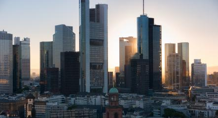 Frankfurt am Main skyline sunset behind Skyscapers- Stock Photo or Stock Video of rcfotostock | RC-Photo-Stock