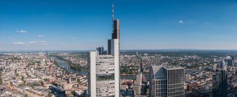 Frankfurt am Main skyline with blue sky- Stock Photo or Stock Video of rcfotostock | RC-Photo-Stock