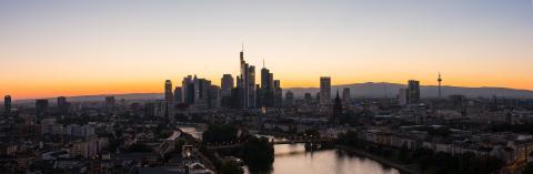 Frankfurt City Skyline Panorama at Sunset silhouette- Stock Photo or Stock Video of rcfotostock | RC-Photo-Stock