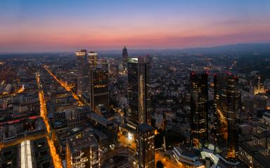 Frankfurt Financial district arial view at sunset- Stock Photo or Stock Video of rcfotostock | RC-Photo-Stock
