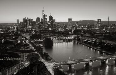 Frankfurt financial district skyline in black and white colors- Stock Photo or Stock Video of rcfotostock | RC-Photo-Stock