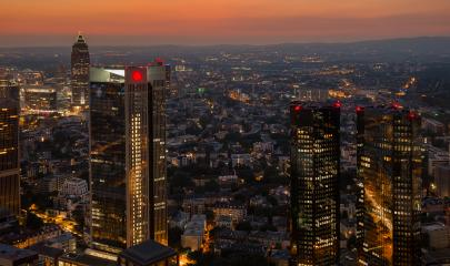 Frankfurt Financial district skyscapers at night- Stock Photo or Stock Video of rcfotostock   RC-Photo-Stock
