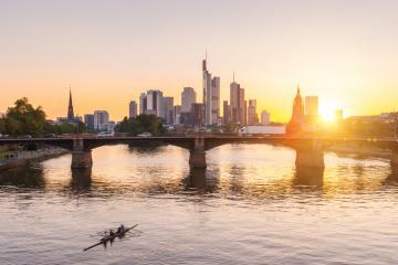 Frankfurt, Germany financial district skyline at Sunset- Stock Photo or Stock Video of rcfotostock | RC-Photo-Stock