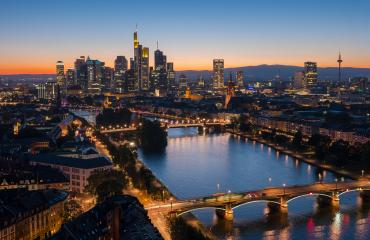 Frankfurt, Germany financial district skyline at sunset- Stock Photo or Stock Video of rcfotostock | RC-Photo-Stock